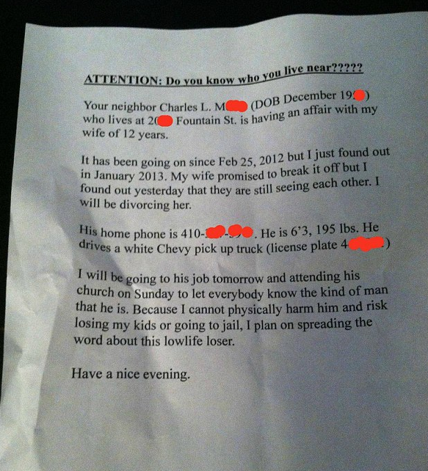 Scorned Husband Pens Tell All Letter To The Neighbors Of His Wife S